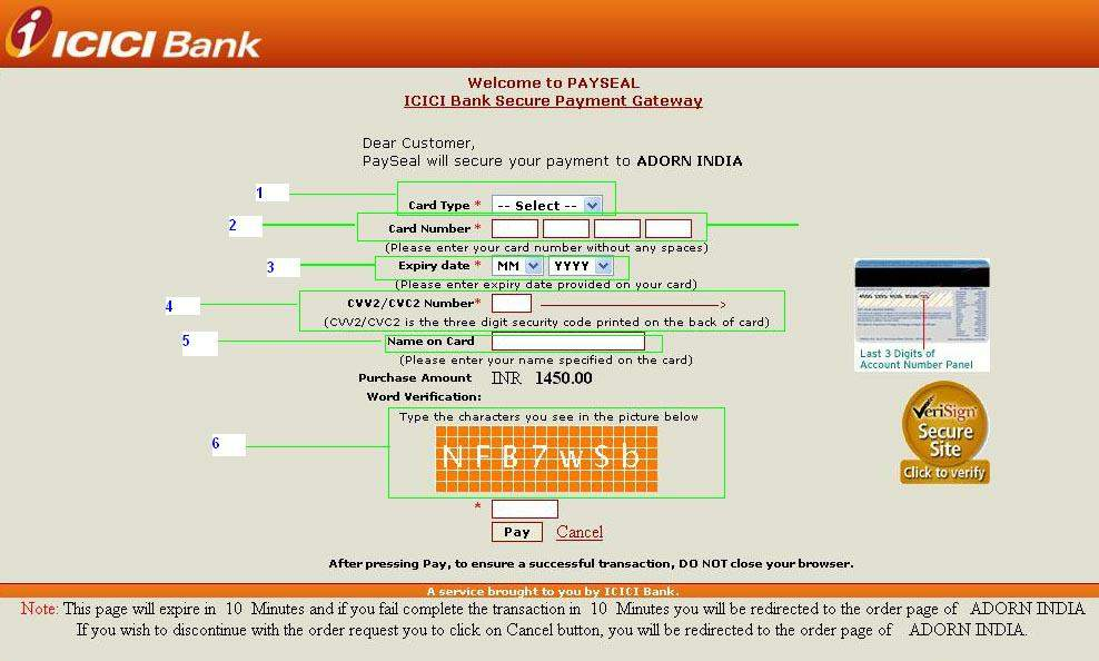 icici bank debit card payment